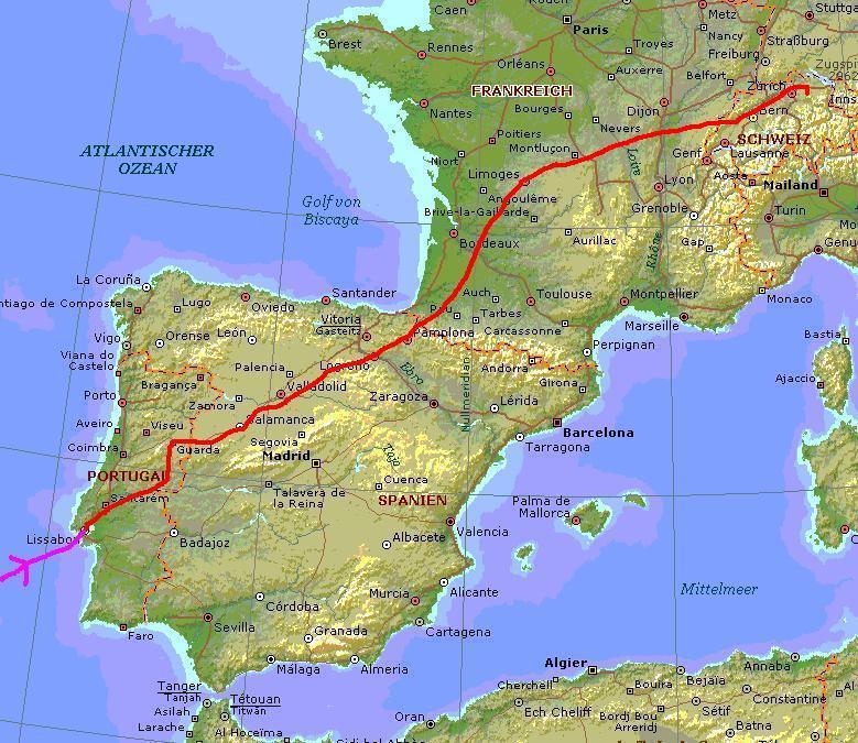 Route Portugal Spanien Frankreich Schweiz